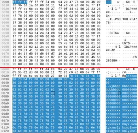 Wireshark packet capture screenshot of the buffer overflow from the server name